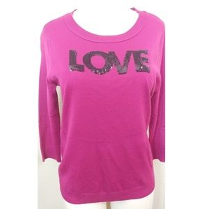 New York & company 3/4 sleeve pink sequin sweater